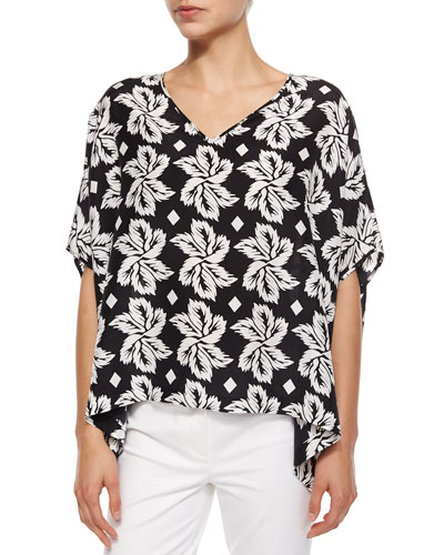 Adria Giant Leaf Printed Top, Black
