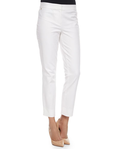 Gennifer Cropped Skinny Pants, White