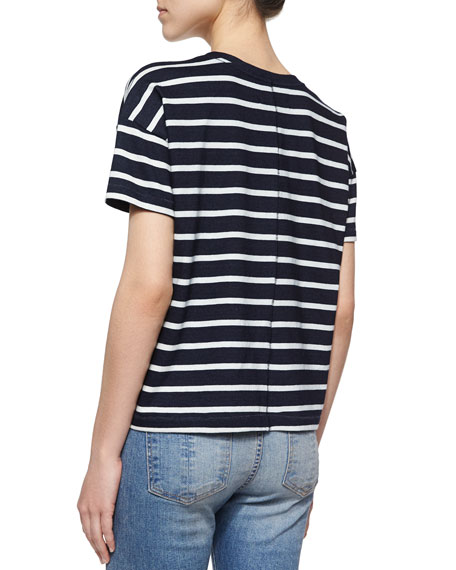 Suzanne Striped Jersey Tee, Black/White