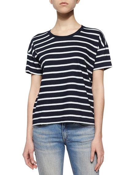 Suzanne Striped Jersey Tee, Black/White