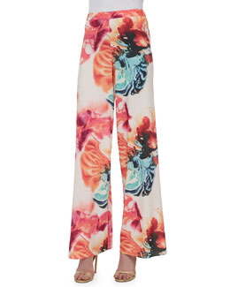Super Flared Wide-Leg Floral-Print Pants