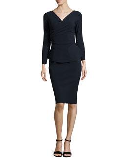 Clelia Long-Sleeve Peplum Faux-Wrap Dress