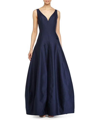 Sleeveless V-Neck Tulip Gown, Navy