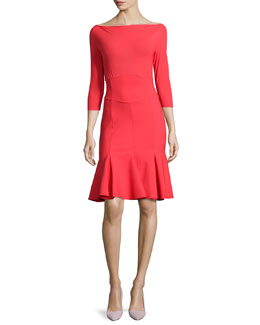 Roxette Flared 3/4-Sleeve Dress
