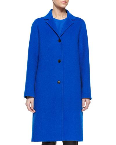 Classic Wool Long Coat, Cerulean