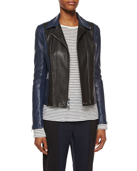 Asymmetric Colorblock Leather Jacket