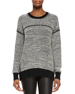 Textured Wool Crewneck Sweater, Black/Off-White