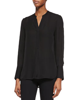 Contrast-Sleeve Long-Sleeve Top, Black