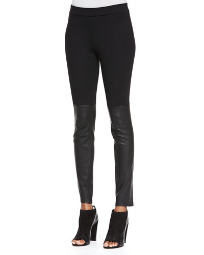 Mixed Media Leather Leggings, Black
