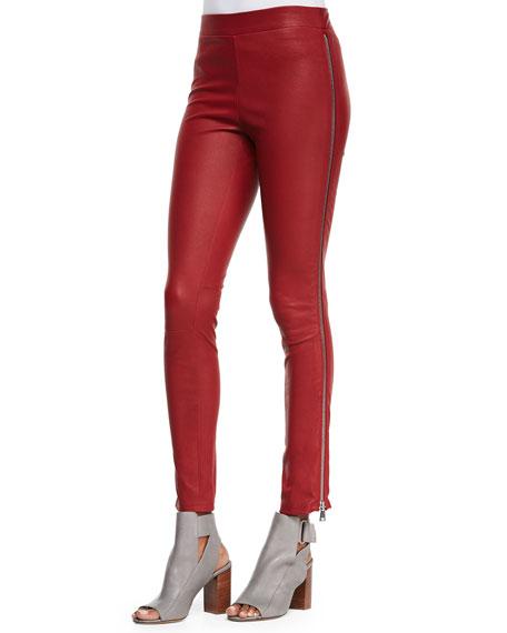 Side-Zip Leather Leggings