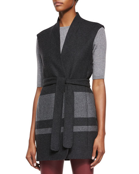 Blanket-Stripe Wool Vest