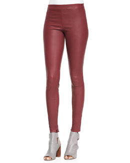 Smooth Leather Leggings, Bordeaux