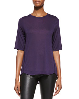 Half-Sleeve Ribbed Trim Tee