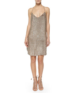 Sequined T-Back Mesh Dress, Suntan