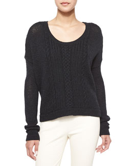 Boxy Cable-Knit Pullover Sweater, Charcoal
