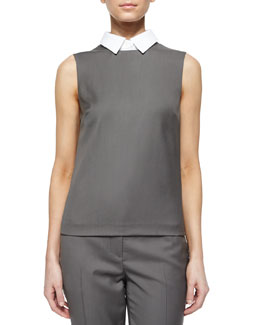 Audressa Classy Wool Top with Detachable Collar