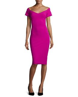 Beverly V-Neck Cap-Sleeve Sheath Dress