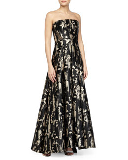 Floral-Brocade Mesh-Inset Strapless Gown