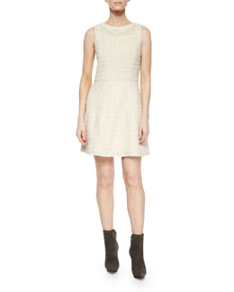 Haven Embroidered Tweed A-Line Dress