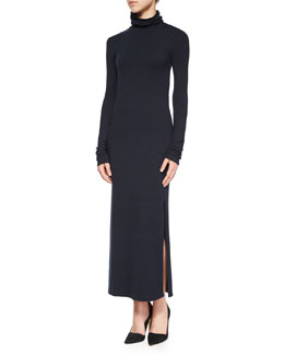 Long-Sleeve Double-Slit Turtleneck Dress, Navy