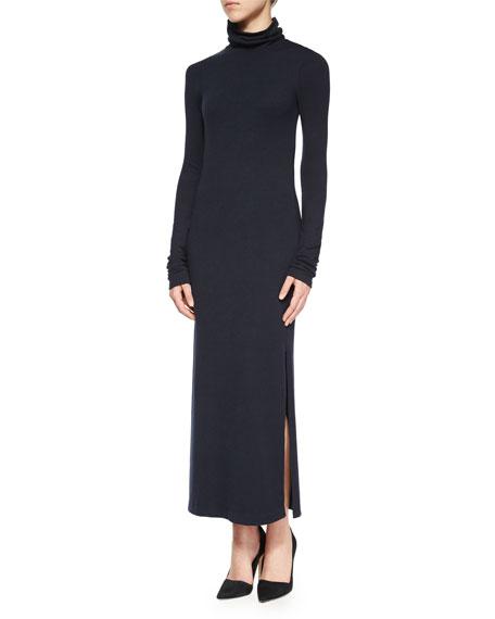 Long-Sleeve Double-Slit Turtleneck Dress, Navy