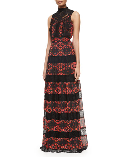 Briella Printed/Lace Tiered Gown