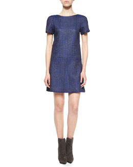 Liv Herringbone Drop-Waist Dress