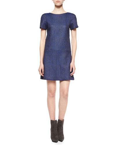 Liv Herringbone Drop-Waist Dress
