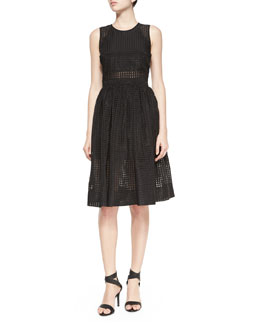 Sleeveless Heidi Eyelet Dress, Black