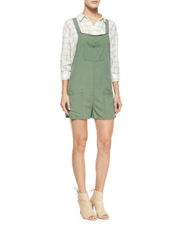 Carmel Sleeveless Romper, Military Green