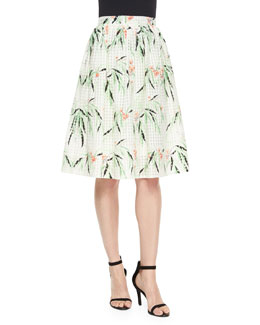 Avenue Floral A-Line Skirt, White/Multicolor