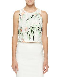 Terri Floral Crop Top, White/Multicolor