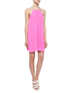 Adley Chiffon Minidress, Bright Magenta