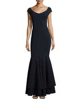Naima Long Ruffled Gown, Navy