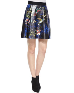 Loran Printed A-Line Skirt, Black/Multicolor