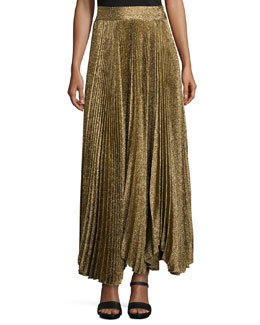 Katz Shimmery Pleated Maxi Skirt