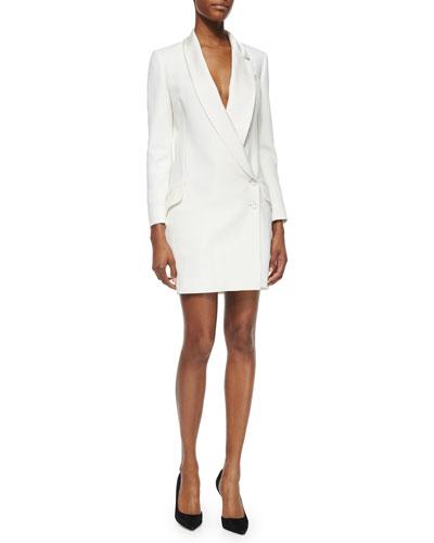 Asymmetric Two-Button Tuxedo Dress