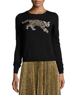 Beaded-Tiger Knit Sweater