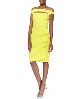 Melania Cap-Sleeve Draped Dress