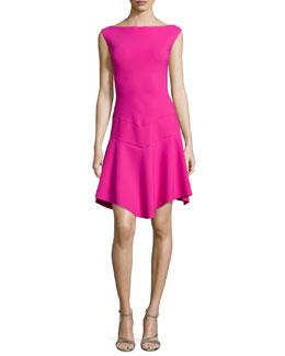 Imogen Cap-Sleeve Pointy-Hem Dress