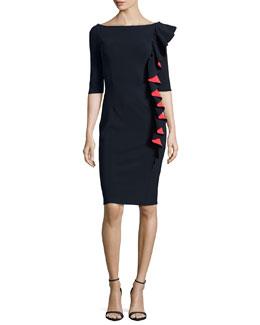 Selene Bicolor Ruffled Sheath Dress