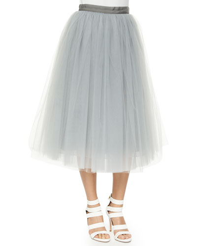 Everleigh Tulle Circle Skirt, Pale Gray