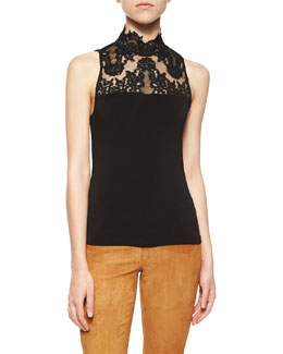 Madyson Lace-Neck Sleeveless Top