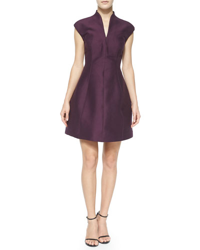 Cap-Sleeve Structured A-Line Dress, Port