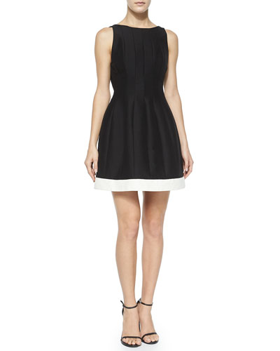 Seamed Structured Cocktail Dress w/ Contrast Hem, Black/Bone