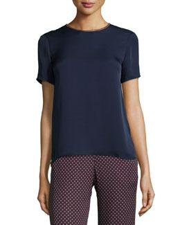 Dantrell Short-Sleeve Silk Top