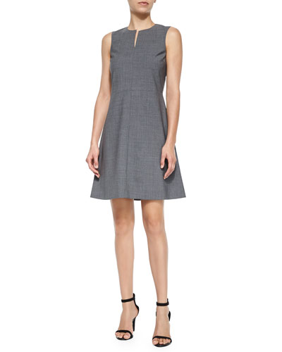 Miyani Split-Neck Suit Dress, Light Gray