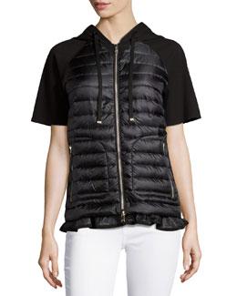 Short-Sleeve Puffer Cardigan, Black