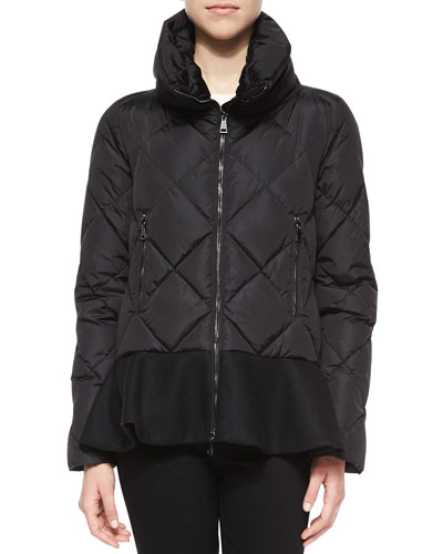 Vouglette Flounce-Hem Puffer Coat, Black