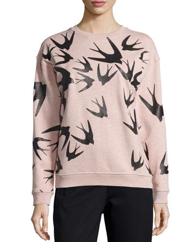 Bird-Print Classic Sweatshirt, Blush Melange